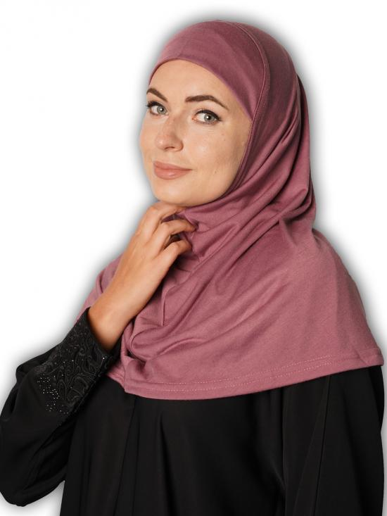 Cotton Lycra Instant Hijab In Puce Pink