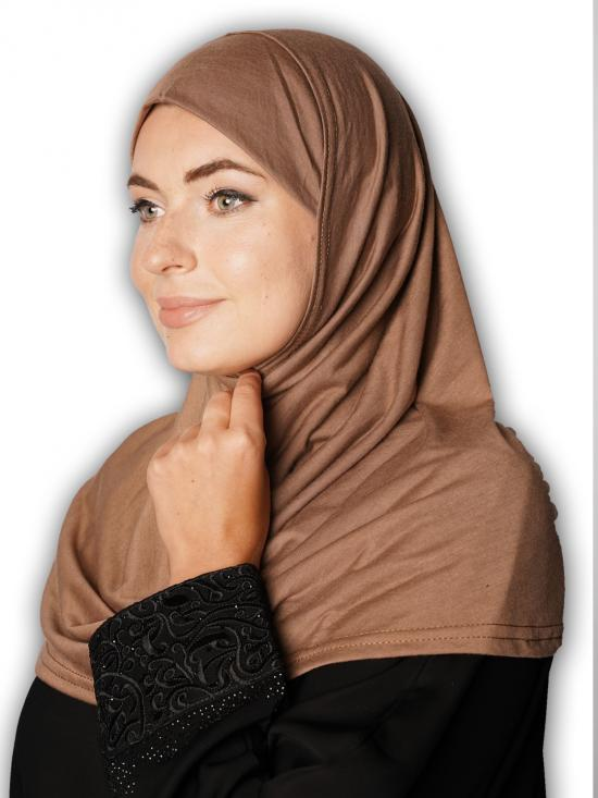 Cotton Lycra Instant Hijab In Light Brown