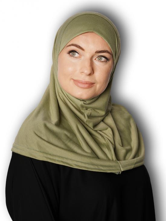 Cotton Lycra Instant Hijab In Light Green