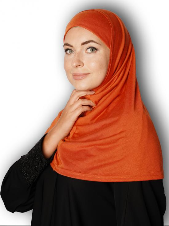 Cotton Lycra Instant Hijab In Rust