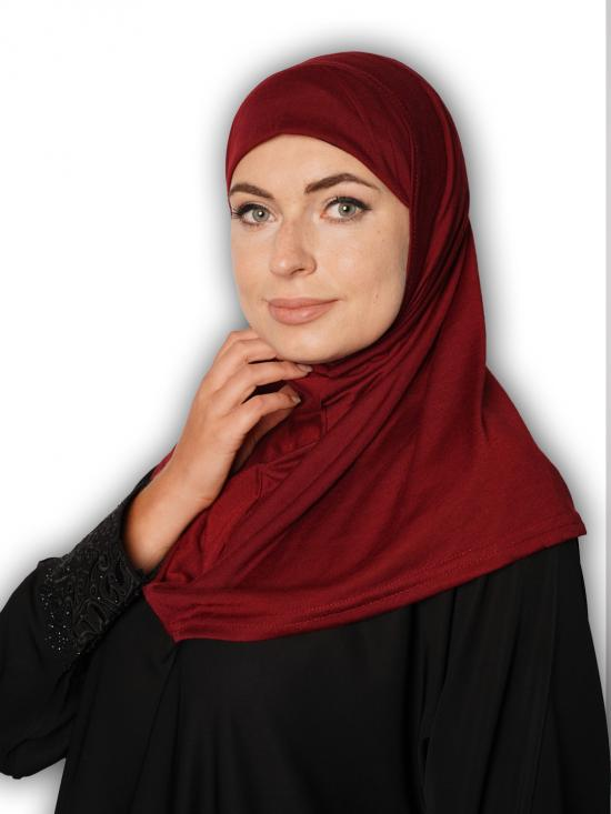 Cotton Lycra Instant Hijab In Wine