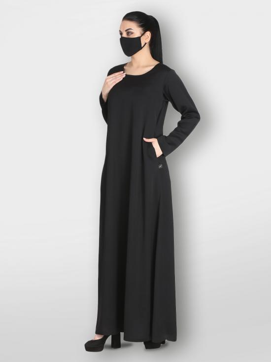 Nida Satin Simple Inner Abaya With Side Pockets In Black
