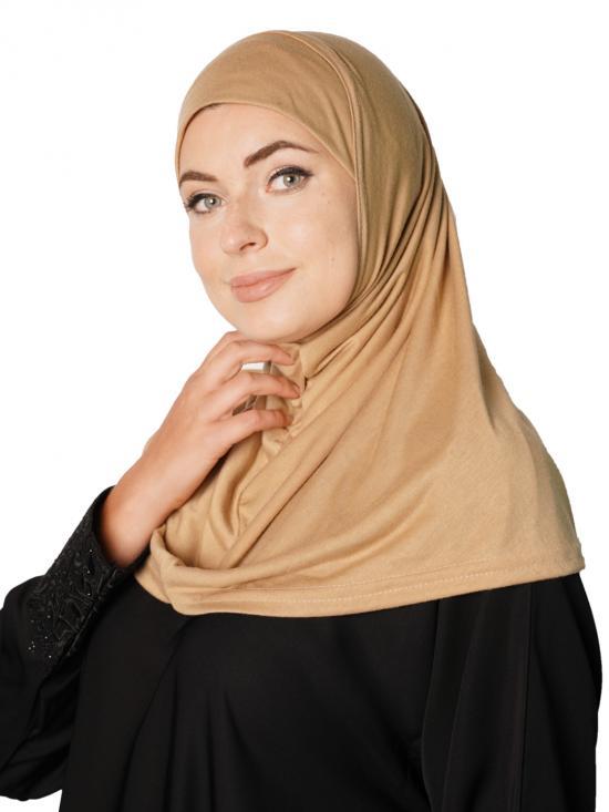 Cotton Lycra Instant Hijab In Beige