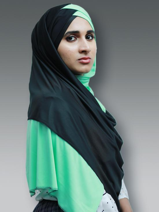 Turban Soft Knitted Lycra Double Shaded Instant Hijab In Black And Pista