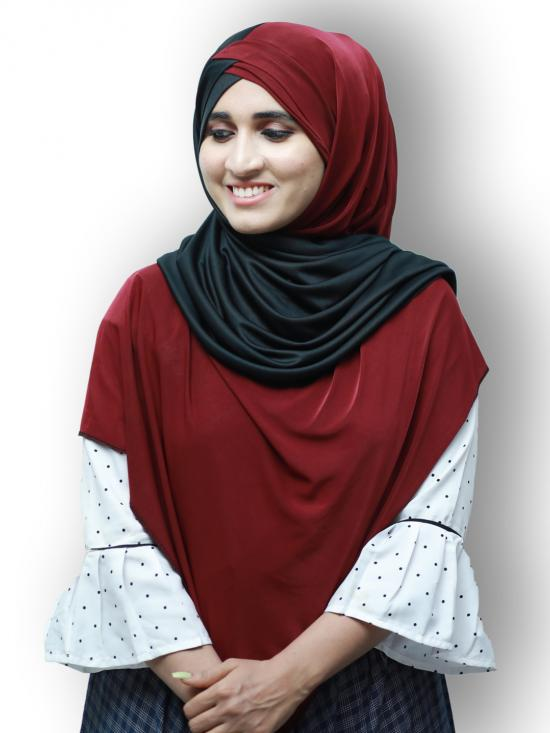 Turban Soft Knitted Lycra Double Shaded Instant Hijab In Black And Maroon