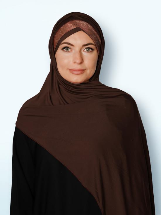 100% Polyster Lycra Turban Style Instant Hijab With Glittering Band In Brown And Maroon