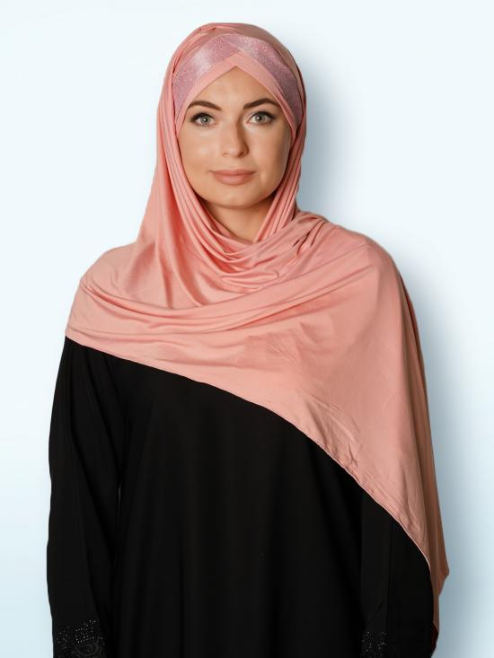 100% Polyster Lycra Turban Style Instant Hijab With Glittering Band In Baby Pink And Pink