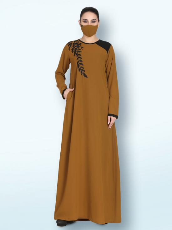 Nida Matte Abaya With Handwork Embellishments In Golden Brown