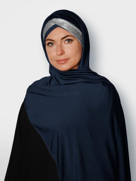 100% Polyster Lycra Turban Style Instant Hijab With Glittering Band In Navy Blue & Silver
