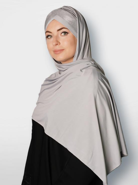 100% Polyster Lycra Turban Style Instant Hijab With Glittering Band In Ash And Silver