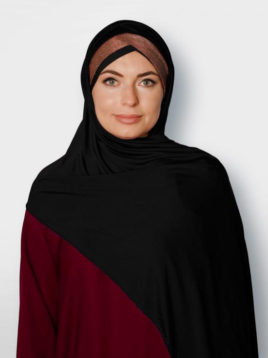 100% Polyster Lycra Turban Style Instant Hijab With Glittering Band In Black And Maroon