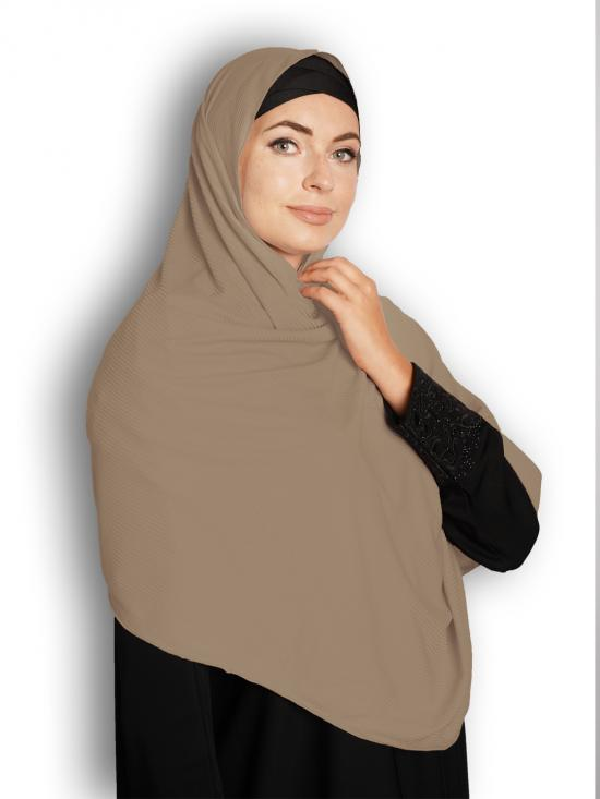 Soft Knitted Lycra Fabric Stole With Strips In Light Khaki