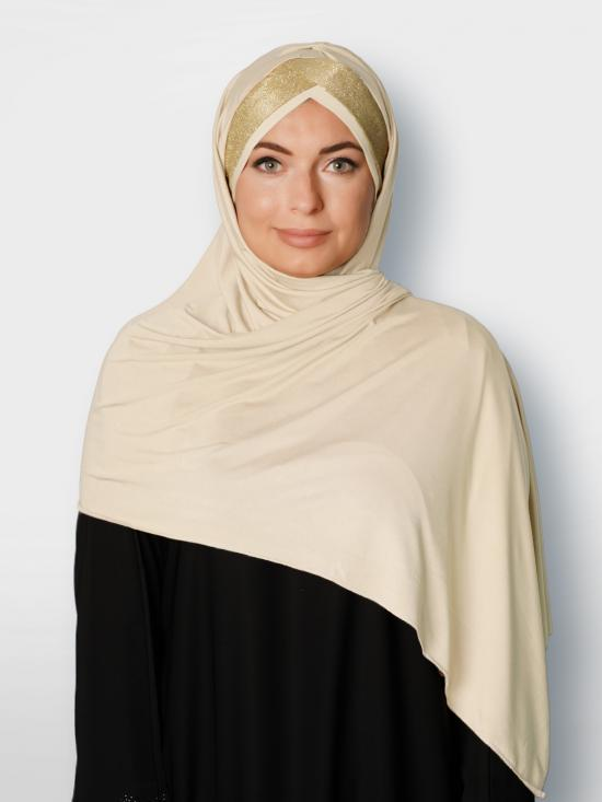 100% Polyster Lycra Turban Style Instant Hijab With Glittering Band In Cream And Golden