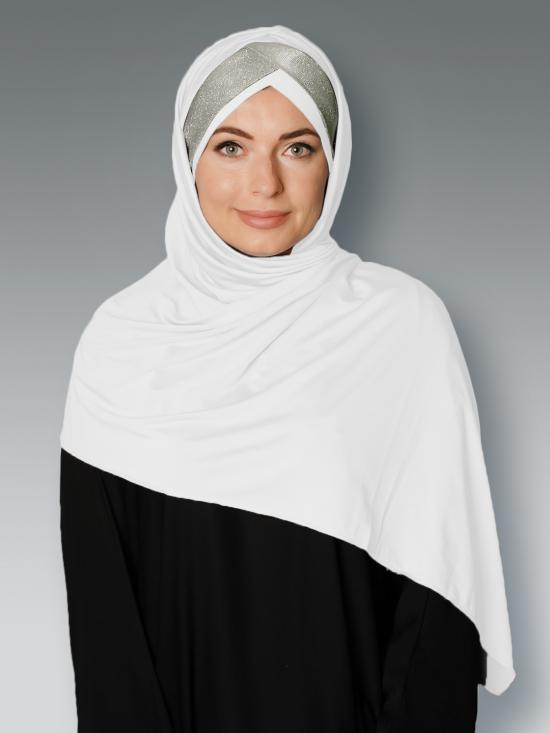100% Polyster Lycra Turban Style Instant Hijab With Glittering Band In White And Silver