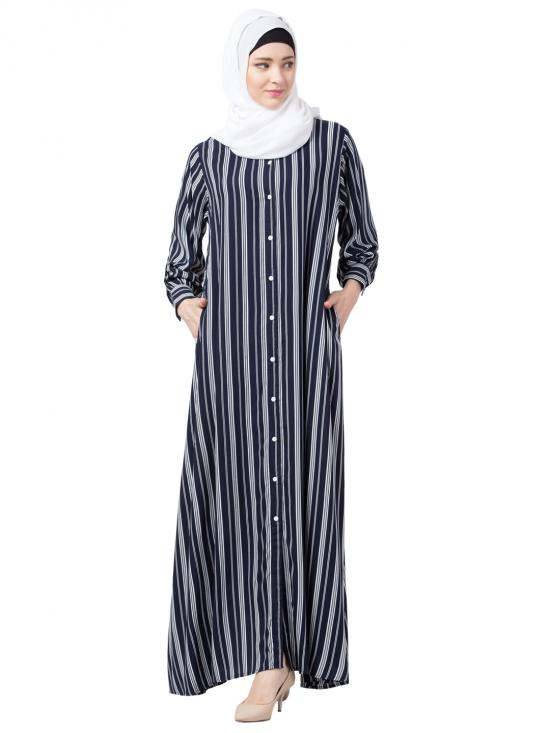Viscose Rayon Front Open Casual Abaya With Stripe In Blue