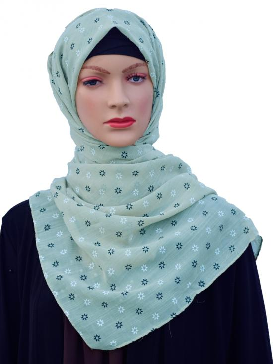 Cotton Mix Stole With Printed Work In Light Mint