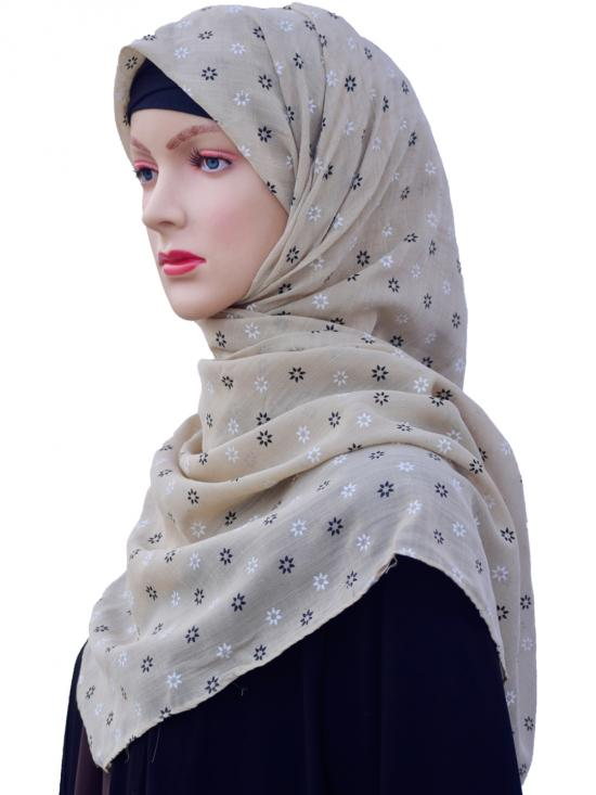 Cotton Mix Stole With Printed Work In Light Beige