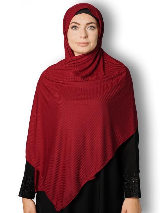 Soft Knitted Lycra Fabric Stole With Strips In Maroon