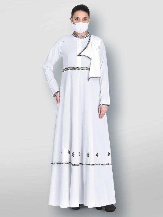 Nida Matte Modest Dress With Chikan Work Embroidery In White