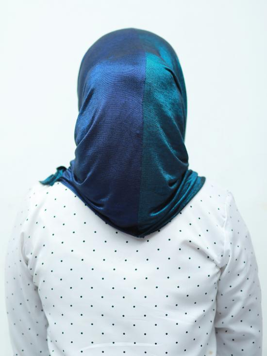 Turban Soft Knitted Lycra Double Shaded Instant Hijab In Peacock Blue And Navy Blue