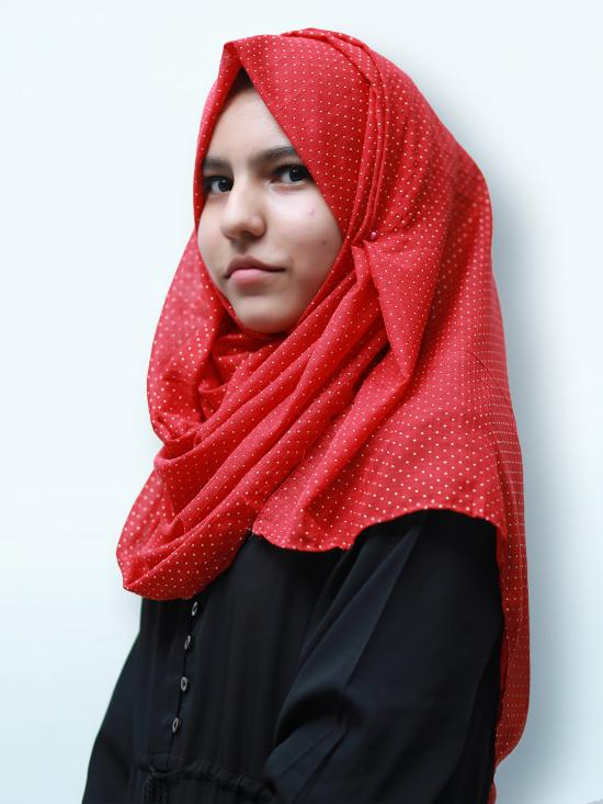 Cotton Mix Stole With Golden Dots In Red