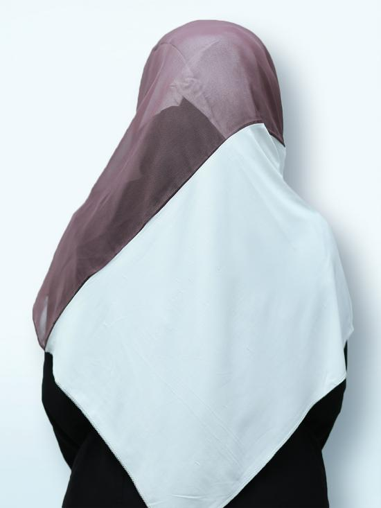 100% Polyster Lycra Double Shade Stoles In Light Mulberry And White