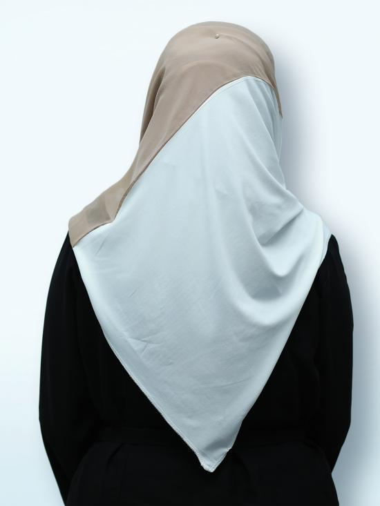 100% Polyster Lycra Double Shade Stoles In Dark Beige And White