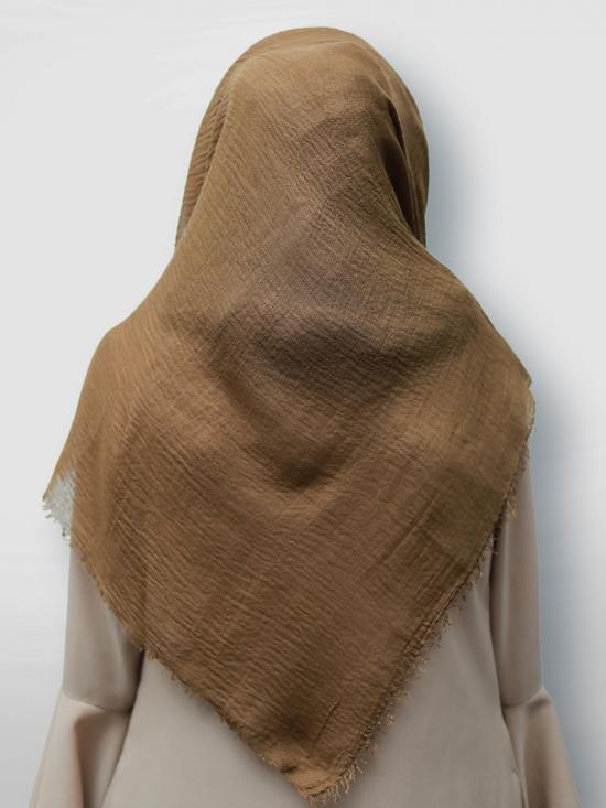 Cotton Mix Plain Stole In Brown