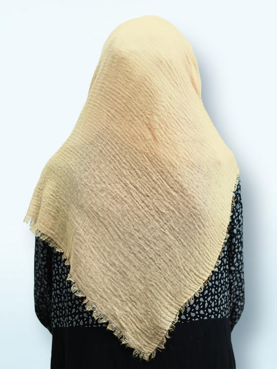 Cotton Mix Plain Stole In Light Cream