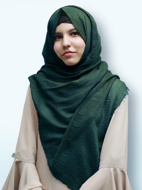 Cotton Mix Plain Stole In Green