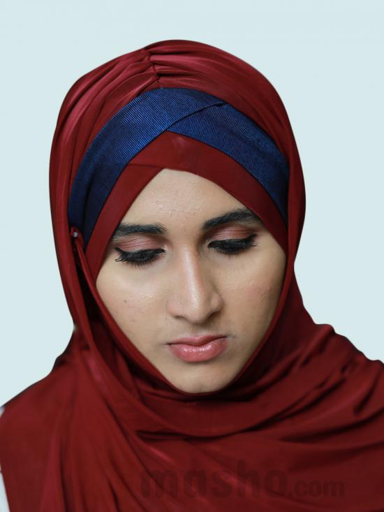 Turban Soft Knitted Lycra Instant Hijab With Shining Band In Maroon And Navy Blue