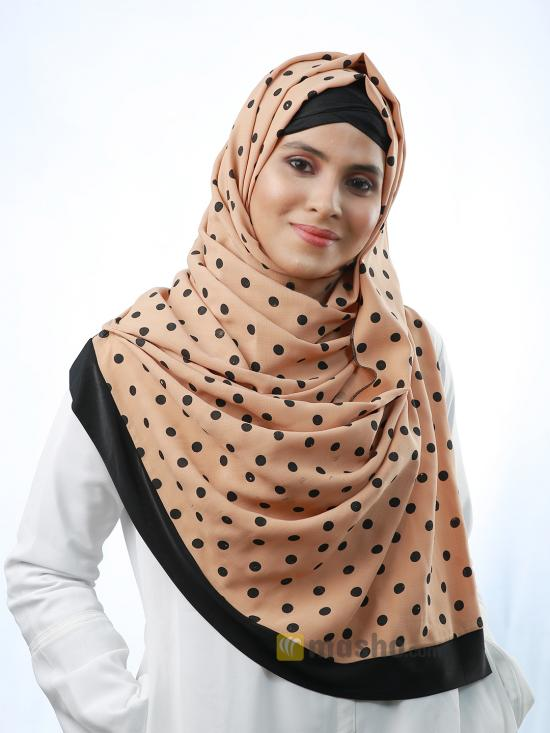 Cotton Mix Stole With Polka Dots And Black Band In Tangerine