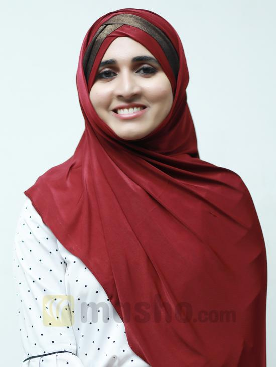 Turban Soft Knitted Lycra Instant Hijab With Shining Band In Maroon And Brown
