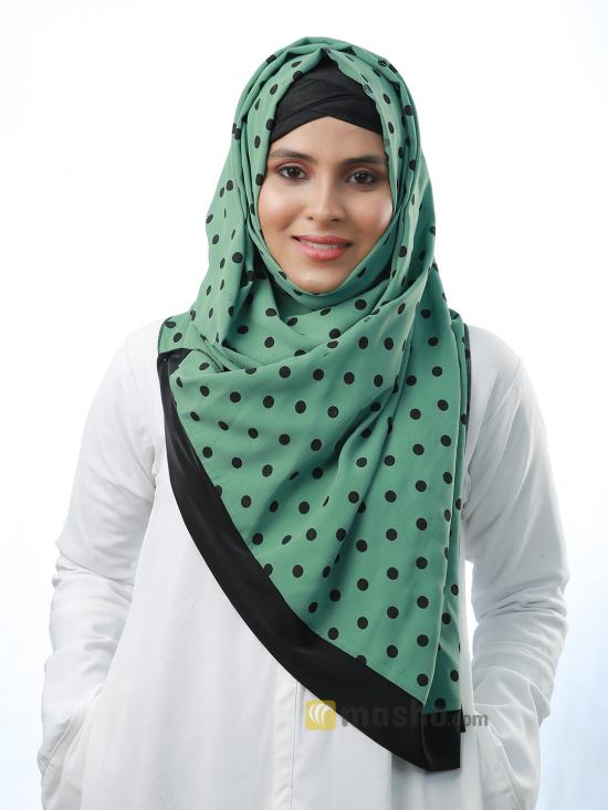 Cotton Mix Stole With Polka Dots And Black Band In Light Green