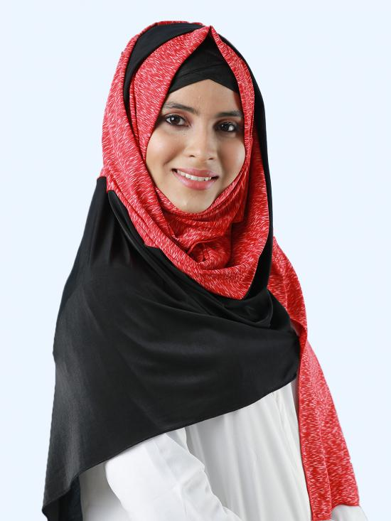 100% Polyester Lycra Double Shade Stole In Black And Red