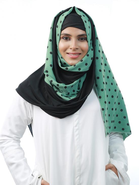 Cotton Mix And Polyester Lycra Double Shaded Stole With Polka Dots In Black And Light Green