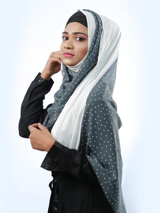 100% Polyester And Lycra Double Shaded Stole With Polka Dots In Grey And White