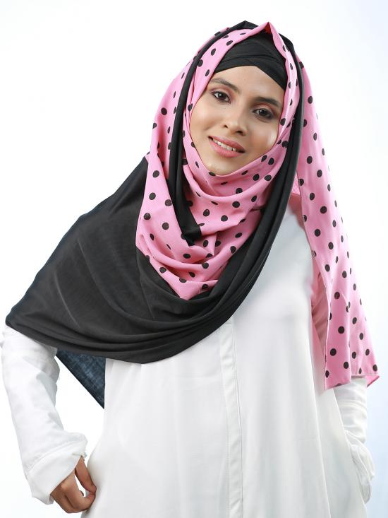 Cotton Mix And Polyester Lycra Double Shaded Stole With Polka Dots In Black And Pink
