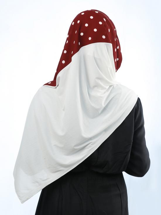 Cotton Mix And Polyester Lycra Double Shaded Stole With Polka Dots In White And Maroon