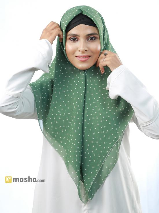 100% Polyster Polka Dots Square Scarf In Light Green