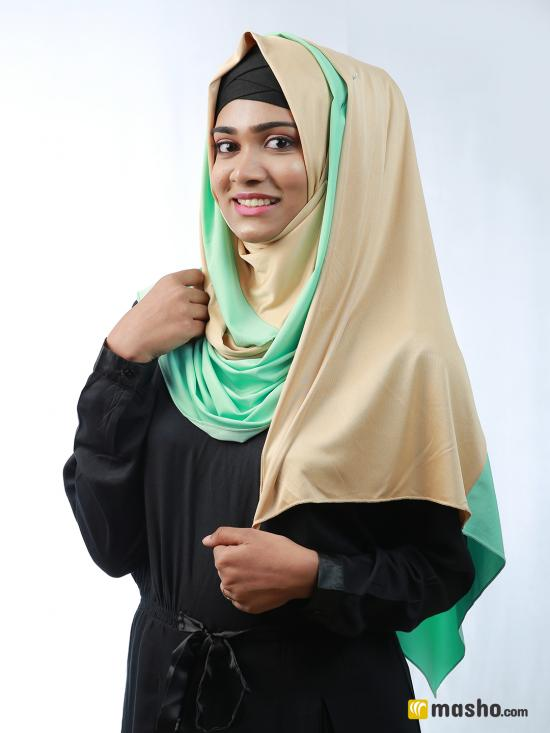 Soft Knitted And Polyester Lycra Double Shade Stole In Pista And Wheat