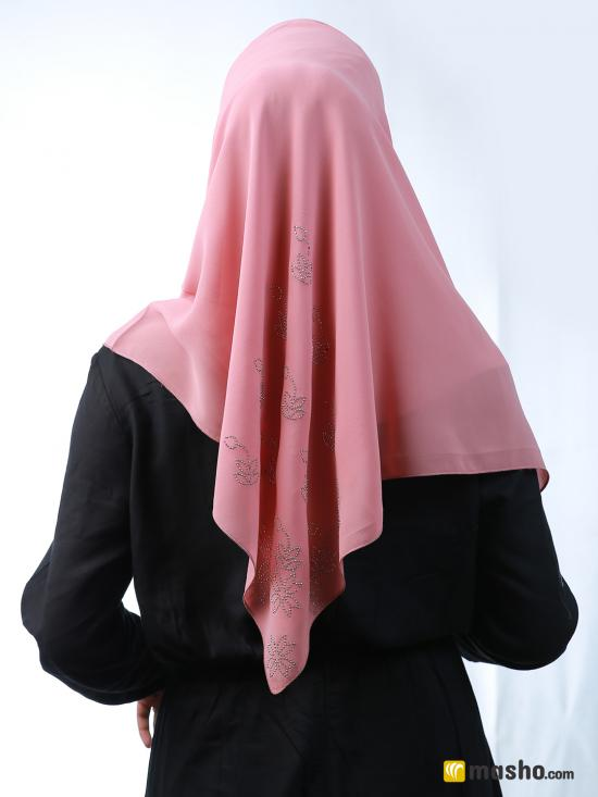 100% Polyester Square Scarf With Silver Stone Work On Corner In Puce Pink
