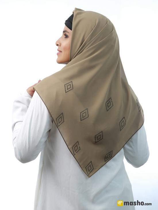 100% Polyester Square Scarf With Black Stone Work On Corner In Khaki