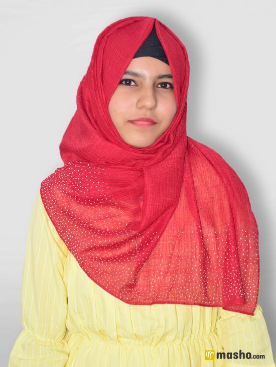 Cotton Mix Stole With Drip Drop Work In Red