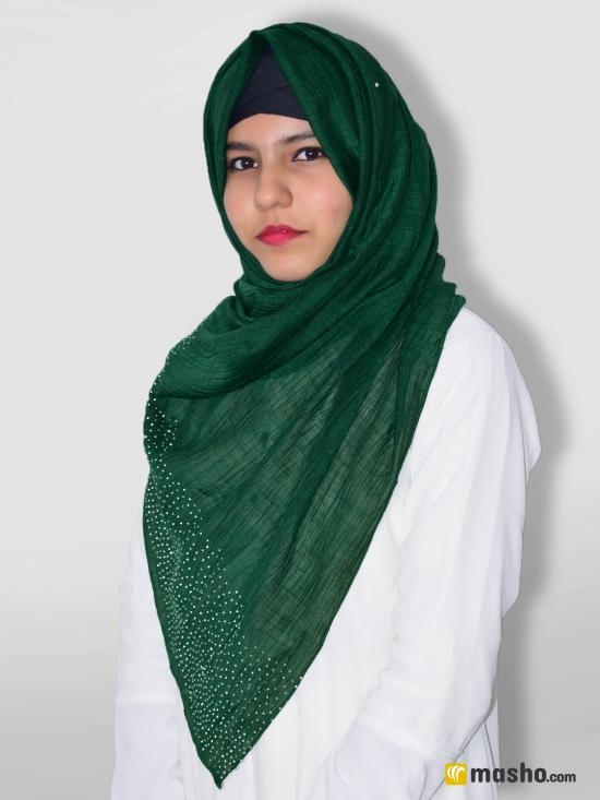 Cotton Mix Stole With Drip Drop Work In Green