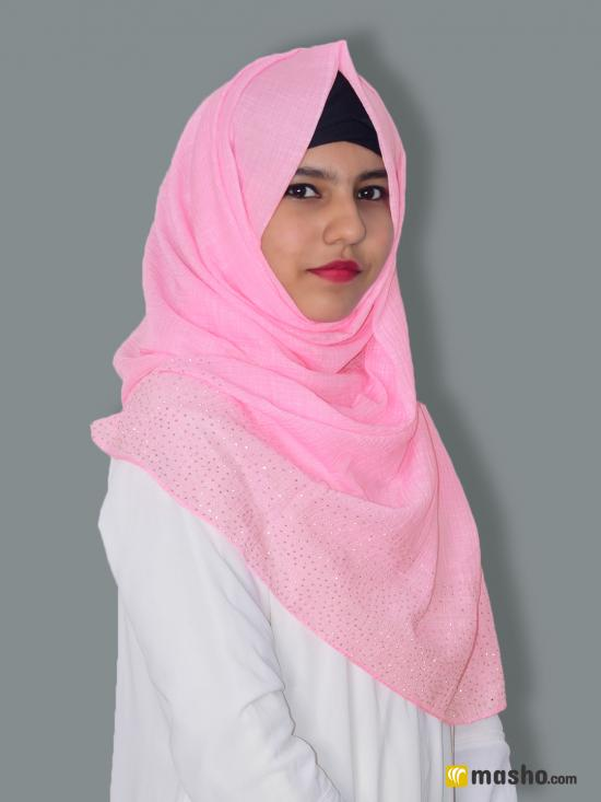 Cotton Mix Stole With Drip Drop Work In Baby Pink