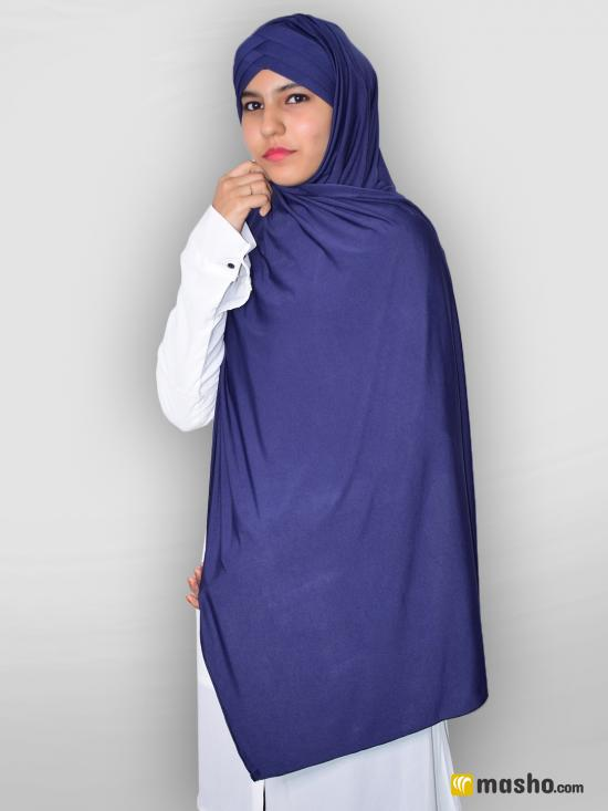 100% Polyster Lycra Turban Style Instant Hijab In Navy Blue