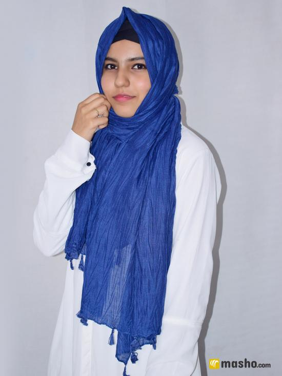 Cotton Mix Plain Stole With Tassel Work In Blue