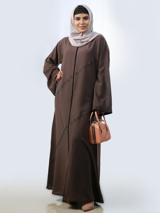 Korean Masha Crepe Simple Free Size Abaya With Stone Work And Piping On Front And Sleeve In Brown