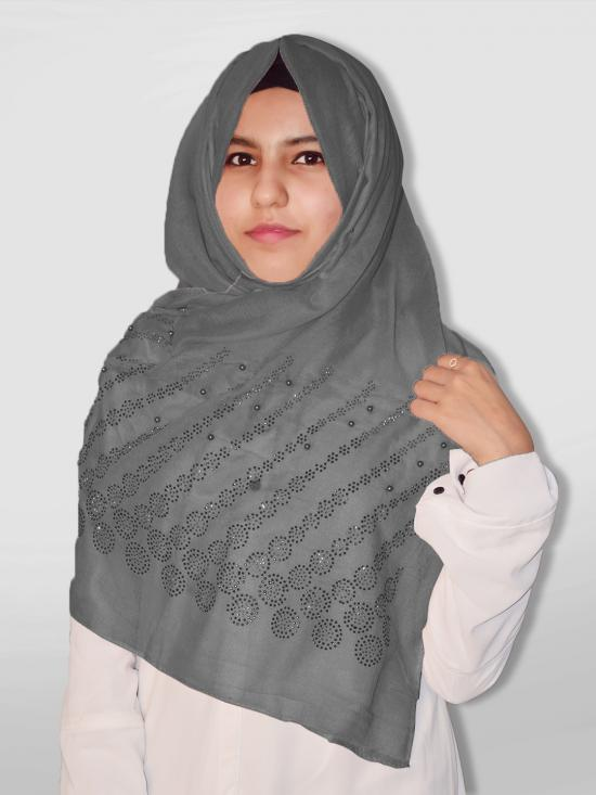 Cotton Mix Stole With Drip Drop Stone Work And Pearl In Dark Grey